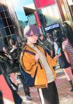 1boy backpack bag black_pants blue_sky building cellphone city commentary_request crosswalk crowd grey_eyes holding holding_phone jacket looking_at_viewer original pants parted_lips phone purple_hair road shirt short_hair sign sky smartphone standing street sun teru2307 walking white_shirt yellow_jacket zipper zipper_pull_tab