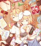 2boys 3girls ahoge anniversary aqua_hair arms_around_back bass_clef birthday blanket blonde_hair box closed_eyes covering_with_blanket crayon detached_sleeves drawing dress from_above gift gift_box gift_wrapping hair_ornament hair_ribbon hairclip hat hatsune_miku highres holding holding_gift kagamine_len kagamine_rin kaito kneeling lying megurine_luka meiko multiple_boys multiple_girls nail_polish necktie on_back paper_chain party_hat ribbon sailor_collar sailor_dress sazanami_(ripple1996) shoulder_tattoo siblings sleeping star tattoo twins vocaloid wooden_floor