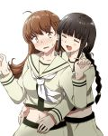 2girls ahoge any_(lucky_denver_mint) bangs black_hair blunt_bangs blush braid breasts brown_hair closed_eyes eyebrows_visible_through_hair hair_tie hands_up highres kantai_collection kitakami_(kantai_collection) long_hair midriff multiple_girls navel ooi_(kantai_collection) open_mouth remodel_(kantai_collection) ribbon sailor_collar school_uniform serafuku sidelocks simple_background single_braid skirt smile sweat sweatdrop white_background yellow_eyes yellow_serafuku