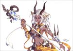 1girl 2015 absurdres animal_ears animal_skull blue_eyes bone dark_skin earrings facial_mark gem highres holding holding_staff holding_weapon horns jewelry navel open_mouth original quick_(quickzhi) scarf signature simple_background skull solo staff upper_body weapon white_hair