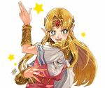 1girl :d alternate_eye_color blonde_hair blush bracer bright_pupils cape earrings fingernails gem gold green_eyes hair_intakes jewelry long_hair nintendo open_mouth pointy_ears pose princess princess_zelda serieru short_sleeves shoulder_pads signature simple_background smile solo star straight_hair teeth the_legend_of_zelda the_legend_of_zelda:_a_link_between_worlds tiara triforce upper_body white_background white_cape white_pupils