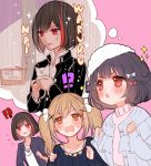 !? 3girls :<> animal bang_dream! bangs black_hair black_jacket black_shirt blonde_hair blue_bow blue_jacket bob_cut bow box brown_eyes cardboard_box cat chino_machiko clenched_hands collarbone collared_shirt commentary_request dirty_face flying_sweatdrops for_adoption frilled_jacket fur_hat hair_bow hair_flaps hair_ornament hands_up hat holding holding_animal holding_cat ichigaya_arisa imagining jacket jewelry kitten mitake_ran multicolored_hair multiple_girls navy_blue_jacket necklace open_mouth pink_background pom_pom_(clothes) rain red_bow red_eyes redhead romaji_text school_uniform shirt short_hair sparkle star star_necklace streaked_hair sweatdrop translated turtleneck twintails ushigome_rimi v-shaped_eyebrows violet_eyes white_hat white_shirt x_hair_ornament