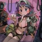 1girl andrea_cofrancesco backwards_hat baseball_cap bike_shorts blue_hair blue_nails blush blush_stickers breasts cleavage eating fingernails gradient_hair hand_up hands_up hat highres holding looking_at_viewer mechanical_arm multicolored_hair nail_polish navel original parted_lips photoshop_(medium) purple_hair short_hair signature sitting small_breasts solo sweatdrop tattoo wide_sleeves