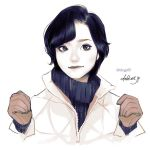 1girl artist_name black_hair black_sweater blue_eyes closed_mouth coat commentary english_commentary gloves layered_clothing looking_at_viewer original partially_unzipped short_hair simple_background solo sweater takenaka turtleneck turtleneck_sweater upper_body watermark web_address white_background white_coat