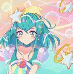 1girl blue_choker blue_eyes blue_hair blush choker closed_mouth collarbone commentary_request cure_milky earrings hagoromo_lala hair_ornament hairband jewelry looking_at_viewer magical_girl precure rudo_(rudorudo0917) short_hair smile solo star star_earrings star_hair_ornament star_twinkle_precure upper_body yellow_hairband