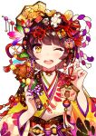 1girl ;d animal ball bangs bell blunt_bangs boar brown_hair commentary_request crown dice dice_hair_ornament ema food_themed_hair_ornament gold hagoita hair_ornament hair_ribbon hair_stick hanetsuki happy_new_year highres japanese_clothes jingle_bell kimono koban_(gold) long_sleeves looking_at_viewer multicolored multicolored_nails nail_polish neck_ribbon new_year obi one_eye_closed open_mouth original outline paddle print_kimono red_ribbon revision ribbon rope round_teeth sash shimenawa short_hair simple_background smile solo spinning_top tareme tassel teeth temari_ball upper_body upper_teeth user_fvsd2278 white_background white_outline wide_sleeves yellow_eyes yellow_kimono