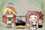 bad_id blonde_hair blush brown_hair campfire celebi_ryousangata chibi chopsticks closed_eyes disturbed duck eating fire food food_on_face green_eyes hoshii_miki idolmaster long_hair midriff mushroom pot raglan_sleeves rice rice_on_cheek rice_on_face serebi_ryousangata skirt smile spit takatsuki_yayoi thermos tree trees twintails