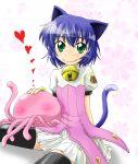1girl 1other bell blue_hair cat_ears cat_tail dress green_eyes human jellyfish kyouran_kazoku_nikki midarezaki_gekka midarezaki_kyouka naruse no_face smile tagme tail thigh-highs thighhighs zettai_ryouiki