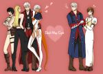 blonde_hair blue_eyes boots brown_hair capcom crossed_arms dante dark_skin devil_bringer devil_may_cry devil_may_cry_4 dual_persona gloria hand_on_hip heart jealous kyrie lady nero_(devil_may_cry) silver_hair sunglasses thigh_strap thighhighs trish umekichi_(pixiv139502) umekick white_hair