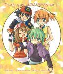artist_name bandana blue_eyes blush brown_hair closed_eyes eizyu_tokiwa gloves haruka_(pokemon) hat hits kasumi_(pokemon) kasumi_(pokemon)_(ag) lowres midriff orange_hair pokemon pokemon_(anime) satoshi_(pokemon) short_hair shuu_(pokemon) side_ponytail smile thank_you v