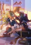 1boy 1girl aqua_eyes assault_rifle bass_clef belt black_hoodie blonde_hair bow brother_and_sister bullet covered_mouth crossover detached_sleeves eye_contact flower_pot frill_trim girls_frontline gold_bar gold_coin gun hair_bow hair_ornament highres hood hoodie jacket kagamine_len kagamine_rin knee_pads kneeling leather leather_jacket leg_holster letter_hair_ornament looking_at_another machine_gun neckerchief necktie necktie_in_mouth open_clothes open_shorts plant rifle shoes short_hair shorts siblings sitting sleeveless sleeveless_hoodie smile sneakers sniper_rifle socks suitcase teasing twins vocaloid weapon window_shade yasuna_(nanjiang) yellow_neckwear zipper