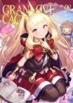 1girl bangs big_hair blonde_hair blunt_bangs blush book bow bracer brown_legwear cagliostro_(granblue_fantasy) cape character_doll cover cover_page crown doujin_cover eyebrows_visible_through_hair gran_(granblue_fantasy) granblue_fantasy hand_up hood hood_down hooded_cape long_hair looking_at_viewer open_book pantyhose parted_lips red_bow red_cape seiza sitting smile solo v violet_eyes yapo_(croquis_side)