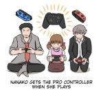 1girl 2boys atlus ayyk92 black_hair brown_hair controller doujima_nanako doujima_ryoutarou english_text game_controller grey_hair hair_ornament multiple_boys narukami_yuu necktie nintendo nintendo_switch persona persona_4 short_hair short_twintails twintails