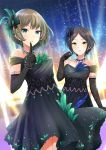 2girls aqua_eyes bangs black_dress black_gloves black_hair blue_eyes blue_feathers brown_hair cowboy_shot dress earrings elbow_gloves eyebrows_visible_through_hair finger_to_mouth gloves green_feathers hair_ornament hayami_kanade heterochromia idolmaster idolmaster_cinderella_girls idolmaster_cinderella_girls_starlight_stage index_finger_raised jewelry kirifrog looking_at_viewer mole mole_under_eye multiple_girls mysterious_eyes_(idolmaster) necklace outdoors parted_bangs parted_lips pretty_liar_(idolmaster) print_dress short_dress short_hair sky sleeveless sleeveless_dress standing star_(sky) starry_sky strapless strapless_dress takagaki_kaede yellow_eyes