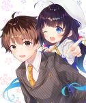 1boy 1girl :d ;d ahoge bangs beret blue_dress blue_eyes blue_hair blush breast_pocket brown_eyes brown_hair brown_jacket collared_shirt commentary_request diagonal-striped_neckwear diagonal_stripes dress eyebrows_visible_through_hair floral_background formal gradient_hair gyozanuko hat highres hinatsuru_ai jacket kuzuryuu_yaichi long_hair long_sleeves low_twintails multicolored_hair necktie one_eye_closed open_mouth orange_neckwear outstretched_arm pinstripe_pattern pinstripe_suit pocket pointing pointing_at_viewer puffy_short_sleeves puffy_sleeves round_teeth ryuuou_no_oshigoto! school_uniform shirt short_over_long_sleeves short_sleeves smile striped striped_neckwear suit teeth tie_clip twintails upper_teeth vertical-striped_jacket very_long_hair white_background white_hat white_shirt