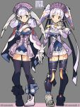 2girls android blue_eyes blush breasts cape curly_hair elbow_gloves fujimoto_hideaki gloves hana_(xenoblade) hana_jk hat head_wings long_hair looking_at_viewer maid_headdress medium_breasts melia multiple_girls nintendo nopon open_mouth orange_eyes purple_hair ribbon robot_joints short_hair silver_hair simple_background smile spoilers thigh-highs twintails xenoblade_(series) xenoblade_1 xenoblade_2