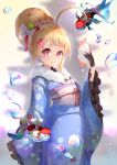 1girl ahoge animal asanogawa_(tutufcc) azur_lane blonde_hair blue_kimono blurry blurry_background blush bow brown_blouse bubble closed_mouth commentary depth_of_field eldridge_(azur_lane) facial_mark fan fish fish_request floral_print folding_fan fur_collar hair_bow hair_bun hand_up heart heart-shaped_pupils highres holding holding_fan japanese_clothes kimono long_sleeves looking_at_viewer obi print_kimono red_eyes sash sleeves_past_fingers sleeves_past_wrists smile solo symbol-shaped_pupils white_bow wide_sleeves