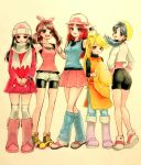5girls :d black_hair black_wristband blonde_hair blue_(pokemon) blue_eyes blue_shirt boots breasts brown_hair creatures_(company) crystal_(pokemon) dress fang full_body game_freak grey_eyes hair_ornament hair_ribbon happy hat hat_removed headwear_removed holding holding_hat long_hair long_sleeves looking_at_viewer medium_hair minapo multiple_girls nintendo odamaki_sapphire open_mouth pink_dress pink_footwear platinum_berlitz pokemon pokemon_special red_skirt ribbon scarf sepia_background shirt shoes simple_background skirt sleeveless sleeveless_shirt small_breasts smile standing twintails white_hat white_scarf winter_clothes yellow_(pokemon) yellow_eyes