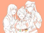 3girls akagi_(kantai_collection) aquila_(kantai_collection) blush breasts capelet celtic_knot closed_eyes closed_mouth collared_shirt commentary_request eyebrows_visible_through_hair fingernails german_flag gloves graf_zeppelin_(kantai_collection) hair_between_eyes hair_ornament hair_tie hairclip hand_on_another's_shoulder hat heart high_ponytail iron_cross italian_flag jacket japanese_clothes japanese_flag kantai_collection kimono kurozu_(hckr_96) long_hair long_sleeves looking_at_viewer military military_hat monochrome multiple_girls neck_ribbon necktie open_mouth peaked_cap ribbon shirt sidelocks spot_color tasuki twintails upper_body wavy_hair