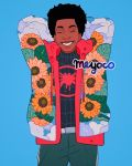1boy artist_name belt black_hair blue_background bodysuit closed_eyes clouds cowboy_shot dark_skin drawstring floral_print flower highres hood hoodie leaf male_focus marvel meyoco miles_morales parted_lips simple_background smile solo sparkle spider-man:_into_the_spider-verse spider-man_(series) spider_web_print sunflower superhero teeth