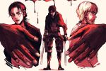 3boys all_fours beast_titan black_hair blonde_hair blood eren_yeager facial_hair facial_mark full_body glasses hands levi_(shingeki_no_kyojin) looking_at_viewer multiple_boys profile rogue_titan shingeki_no_kyojin spoilers timeskip titan_(shingeki_no_kyojin) upper_body weapon zeke_yeager