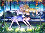 2girls ahoge arm_up bench black_bow black_footwear black_shorts blonde_hair blue_dress blue_eyes bow bug butterfly butterfly_on_hand closed_mouth commentary commission dress earrings english_commentary flower hair_bow hayanse high_heels insect jewelry long_hair long_sleeves looking_at_viewer multiple_girls off-shoulder_shirt off_shoulder on_bench orange_flower original pink_eyes plant pleated_skirt profile shiny shiny_hair shirt shorts silver_hair sitting skirt smile suspenders train_interior underbust very_long_hair white_shirt window