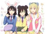 3girls animal_ears bag bags_under_eyes bangs beamed_eighth_notes bear_ears black_eyes black_hair blazer blonde_hair blue_sweater blush brown_eyes cardigan commentary_request dress_shirt eighth_note eyebrows_visible_through_hair fake_animal_ears hair_tie holding jacket kuroki_tomoko letterman_jacket long_hair long_sleeves looking_at_another looking_at_viewer low_twintails medium_hair medium_skirt miniskirt motion_lines mouse_ears multiple_girls musical_note necktie pinky_out pleated_skirt print_skirt purple_neckwear rabbit_ears red_jacket school_bag shirt single_horizontal_stripe sitting skirt sweatdrop sweater tamura_yuri translation_request tsunosame twintails v-shaped_eyebrows watashi_ga_motenai_no_wa_dou_kangaetemo_omaera_ga_warui! white_background white_shirt wing_collar yellow_jacket yellow_skirt yoshida_masaki