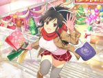 1girl :d asuka_(senran_kagura) bag balloon black_hair boots box breasts brown_eyes cake christmas christmas_tree coat food gift gift_box gloves hair_ribbon happy jacket large_breasts looking_at_viewer official_art open_mouth ponytail red_scarf ribbon scarf senran_kagura senran_kagura_new_link shopping_bag short_ponytail skirt smile snowman solo sweater thigh-highs white_ribbon yaegashi_nan zettai_ryouiki