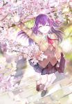 119 1girl =_= arm_up bag bangs black_footwear black_skirt blazer blurry breasts brown_jacket buttons cherry_blossoms closed_eyes collared_shirt commentary_request day eyelashes facing_viewer fate/stay_night fate_(series) floating_hair from_above hair_between_eyes hair_ribbon highres holding holding_bag jacket kneehighs loafers long_hair long_sleeves matou_sakura miniskirt neck_ribbon outdoors outstretched_arm parted_lips petals pleated_skirt purple_hair red_neckwear red_ribbon ribbon school_bag school_uniform shirt shoes skirt smile solo stairs sunlight tree undershirt walking white_legwear white_shirt wing_collar