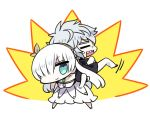1boy 1girl =_= anastasia_(fate/grand_order) back-to-back blue_eyes chan_co chibi closed_mouth commentary_request dress fate/grand_order fate_(series) hair_over_one_eye kadoc_zemlupus looking_at_viewer one_eye_covered open_mouth sharp_teeth smile standing sweatdrop teeth white_dress