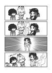 3girls 4koma :3 ^_^ alternate_costume animal_ears capelet chibi closed_eyes closed_eyes closed_mouth coat comic emphasis_lines extra_ears gloves greyscale highres hippopotamus_(kemono_friends) hippopotamus_ears holding holding_clothes jacket kaban_(kemono_friends) kemono_friends kotobuki_(tiny_life) long_sleeves looking_at_another merry_christmas monochrome multiple_girls pants scarf serval_(kemono_friends) serval_ears serval_print serval_tail shirt sidelocks smile standing tail