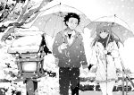 1boy 1girl azukiko black_eyes black_hair blush greyscale hand_holding hatching_(texture) holding holding_umbrella ishida_shouya jacket koe_no_katachi lamppost leaf looking_at_another medium_hair monochrome nishimiya_shouko railing scarf short_hair skirt smile snow snowing spiky_hair stairs tree umbrella walking