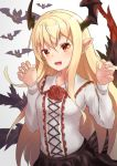 1girl :d animal bangs bat black_skirt blonde_hair blush breasts collarbone collared_shirt commentary_request cross-laced_clothes fang fingernails flower frilled_shirt_collar frills gradient gradient_background granblue_fantasy hair_between_eyes hands_up head_wings long_hair long_sleeves looking_at_viewer miniskirt open_mouth pnt_(ddnu4555) pointy_ears red_eyes red_flower rose sharp_fingernails shirt shirt_tucked_in sidelocks skirt small_breasts smile solo upper_body vampy white_background white_shirt wings