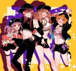 4girls :d ;d arm_hug arms_up backwards_hat bang_dream! bangs baseball_cap black_choker black_footwear black_hat black_jacket black_pants black_shirt black_skirt blue_nails bow breasts brown_eyes brown_hair character_print chino_machiko choker cleavage commentary_request crop_top drop_shadow earrings fang fishnet_legwear fishnets floral_print fur-trimmed_jacket fur_trim green_eyes grin hair_between_eyes hand_holding hand_on_hip hat hoop_earrings imai_lisa jacket jewelry kitazawa_hagumi long_sleeves looking_at_viewer medium_breasts michelle_(bang_dream!) miniskirt multiple_girls nail_polish one_eye_closed open_mouth orange_hair pants pendant polka_dot polka_dot_bow print_jacket print_shirt purple_bow purple_hair red_bow red_eyes red_nails ring shirt shoes short_hair sidelocks skirt sleeveless sleeveless_turtleneck smile socks sparkle sports_bra standing standing_on_one_leg thigh-highs turtleneck twintails udagawa_ako udagawa_tomoe v-shaped_eyebrows white_legwear white_sports_bra yellow_background