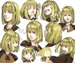 1girl blonde_hair commentary_request drag-on_dragoon drag-on_dragoon_2 face manah red_eyes short_hair smile solo upper_body