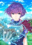 1girl blue_eyes blue_sky book breasts day electricity fire_emblem:_shin_monshou_no_nazo floating_hair holding katarina_(fire_emblem) looking_at_viewer medium_breasts open_book outdoors purple_hair purple_ribbon purple_shirt ribbon shirt short_hair short_sleeves sky solo soyo2106 upper_body