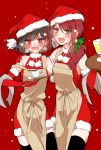 2girls :d apron arm_around_shoulder arm_around_waist bang_dream! bangs black_hair blush bow brown_apron chino_machiko christmas creamer_(vessel) cup dress earrings fang fur-trimmed_dress gloves green_eyes green_ribbon hair_over_shoulder hair_ribbon hat heart holding holding_tray jewelry long_hair looking_at_viewer mitake_ran multicolored_hair multiple_girls open_mouth pom_pom_(clothes) ponytail red_bow red_dress red_gloves redhead ribbon santa_costume santa_hat saucer short_hair sleeveless sleeveless_dress smile snowing strap_slip streaked_hair sweatdrop teacup towel tray udagawa_tomoe violet_eyes waitress