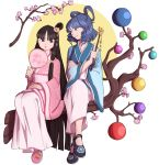 2girls :o alternate_costume alternate_hairstyle bangs black_eyes black_footwear black_hair blue_eyes blue_hair blunt_bangs branch cherry_blossoms circle drill_hair fan floral_print flower hair_ornament hair_rings hair_stick highres holding holding_fan houraisan_kaguya index_finger_raised japanese_clothes jeweled_branch_of_hourai kaku_seiga legs_crossed long_hair looking_at_another mefomefo multiple_girls no_socks paper_fan parted_lips pink_flower print_footwear purple_footwear shoes short_hair side-by-side sitting smile swept_bangs touhou tree uchiwa very_long_hair white_background wide_sleeves