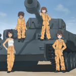 4girls :d akagi_(fmttps) arm_support bangs black_footwear blue_eyes blue_sky brown_eyes brown_hair closed_eyes closed_mouth clothes_around_waist clouds cloudy_sky commentary_request dark_skin day emblem eyebrows_visible_through_hair freckles girls_und_panzer gloves green_eyes ground_vehicle hand_on_hip hands_on_hips hoshino_(girls_und_panzer) jumpsuit leopon_(animal) light_smile long_sleeves looking_at_viewer mechanic military military_vehicle motor_vehicle multiple_girls nakajima_(girls_und_panzer) open_mouth orange_jumpsuit shadow shirt shoes short_hair sitting sky smile standing suzuki_(girls_und_panzer) tank tank_top tied_shirt tiger_(p) tsuchiya_(girls_und_panzer) twitter_username uniform white_gloves white_shirt