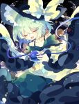 1girl bangs bare_shoulders black_hat blush bow closed_eyes clouds collarbone eyeball frilled_sleeves frills green_hair green_skirt hat hat_bow highres holding komeiji_koishi long_sleeves nikorashi-ka open_mouth ribbon shiny shirt short_hair skirt solo star starry_background string third_eye touhou wavy_hair wide_sleeves yellow_ribbon yellow_shirt