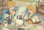 1boy 1girl anniversary birthday blonde_hair blue_eyes book bow coffee_mug collarbone cup desk detached_sleeves eating electric_plug electric_socket eyebrows_visible_through_hair eyes_visible_through_hair food guitar hair_bow holding holding_food holding_paper indoors instrument kagamine_len kagamine_rin lamp mug necktie paper plug sailor_collar sandwich sheet_music short_hair siblings sweatdrop tablet tile_floor tiles twins underl vocaloid window writing yellow_neckwear