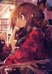 1girl :/ abstract absurdres backlighting bangs brown_eyes brown_hair closed_mouth commentary_request folded_ponytail from_side hand_on_own_arm highres inazuma_(kantai_collection) indoors kaamin_(mariarose753) kantai_collection long_sleeves looking_afar object_request sepia sitting solo upper_body wide_sleeves