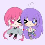 2girls :< ahoge blue_eyes blush boots braids c: chibi couple fiora_greigh_(sinamuna) heart long_hair original oversized_clothes oversized_shirt paint_on_clothes paint_splatter pink_eyes pink_hair purple_hair romilly_maris_(sinamuna) sandals sinamuna sleeves_past_wrists tsundere twin_braids twintails wink