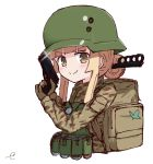 >:) 1girl backpack bag bangs blonde_hair blunt_bangs blush brown_eyes brown_gloves brown_jacket camouflage_jacket closed_mouth commentary_request cropped_torso fukaziroh_(sao) gloves gun hair_bun handgun helmet holding holding_gun holding_weapon jacket knife knife_in_hair kujou_karasuma long_hair long_sleeves pistol sidelocks signature simple_background smile solo sword_art_online sword_art_online_alternative:_gun_gale_online trench_knife upper_body v-shaped_eyebrows weapon weapon_request white_background