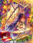 1girl berries black_hair book brown_hair commentary_request cup day dress envelope flower glass hand_on_own_face hayanse highres lantern leaning_forward long_hair looking_at_viewer milk open_book orange_flower original solo sunlight sunset very_long_hair white_dress white_flower