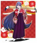 1girl aoba_(smartbeat) blue_eyes border checkered checkered_background commentary_request cross earrings eyebrows_visible_through_hair fate/grand_order fate_(series) floral_print giant_brush hakama highres japanese_clothes jewelry kimono light_blush long_hair one_eye_closed paint paintbrush purple_hair purple_hakama red_background ribbon saint_martha solo sweatdrop tabi tongue tongue_out very_long_hair white_border white_ribbon wrist_wrap