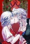 2girls black_vest blouse blue_eyes blue_neckwear braid brooch christmas_wreath closed_eyes collar_grab cravat eyebrows_visible_through_hair eyelashes from_side hair_between_eyes hair_ribbon highres indoors izayoi_sakuya jewelry kiss light_blue_hair looking_at_another maid_headdress multiple_girls nail_polish pink_blouse pointy_ears red_background red_nails red_neckwear remilia_scarlet ribbon sash shirt short_hair shouzuo silver_hair sleeves_rolled_up touhou tress_ribbon twin_braids upper_body vest white_shirt wrist_cuffs yuri