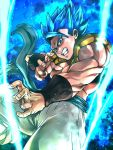 1boy blue_eyes blue_hair dragon_ball dragon_ball_super_broly fighting_stance fingernails floating_clothes frown gogeta male_focus muscle pants short_hair spiky_hair st62svnexilf2p9 super_saiyan_blue teeth waistcoat white_pants