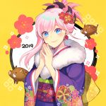 1girl 2019 asymmetrical_hair blue_eyes blush boar commentary_request fate/grand_order fate_(series) floral_print flower hair_flower hair_ornament hair_up hands_together japanese_clothes kari_(hotaru_kago) kimono leaf_earrings looking_at_viewer miyamoto_musashi_(fate/grand_order) new_year orange_background pink_hair print_kimono purple_kimono smile solo