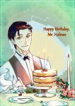 1boy black_hair bow bowtie cake candle commentary_request fate/grand_order fate_(series) flower food formal fou_(fate/grand_order) fruit green_eyes highres looking_at_viewer plate sherlock_holmes_(fate/grand_order) short_hair smile solo strawberry strawberry_shortcake vest yamanaka_kotetsu